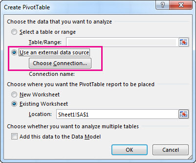 Create a PivotTable with an external data source - Excel