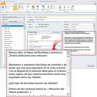 Crear y usar listas de llamadas en Business Contact Manager
