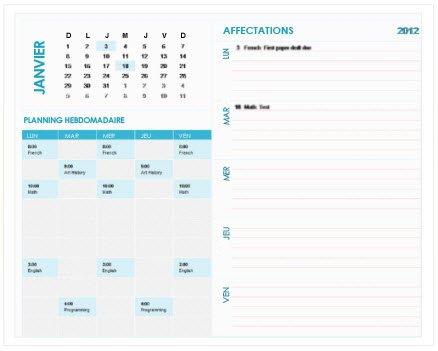 Modèles gratuits de calendriers hebdomadaires sur Office - Excel