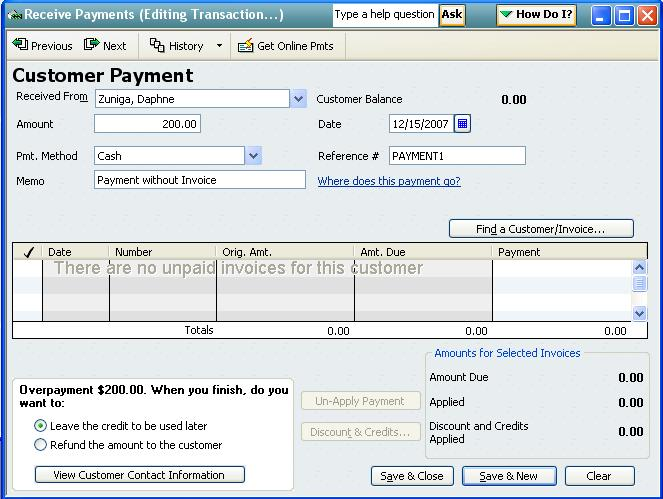 QODBC-Desktop How to Receive a Payment not be Applied to an Invoice
