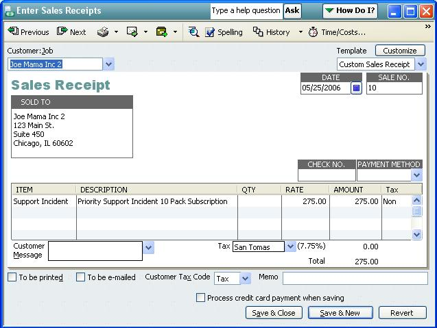 QODBC-Desktop How to create a Sales Receipt using QODBC - Powered