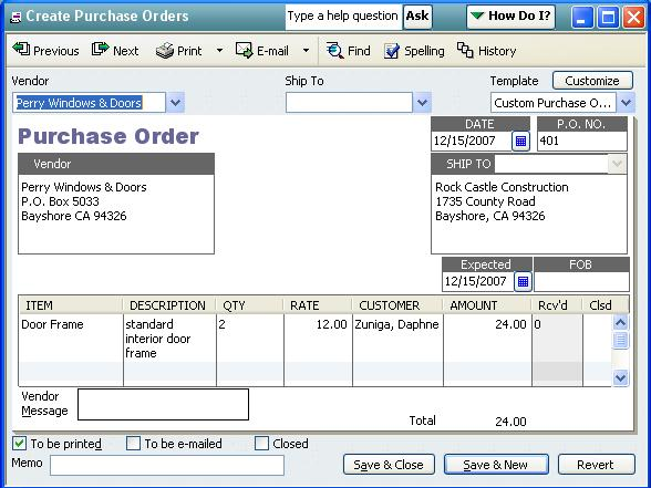 QODBC-Desktop How to receive Items against a Purchase Order