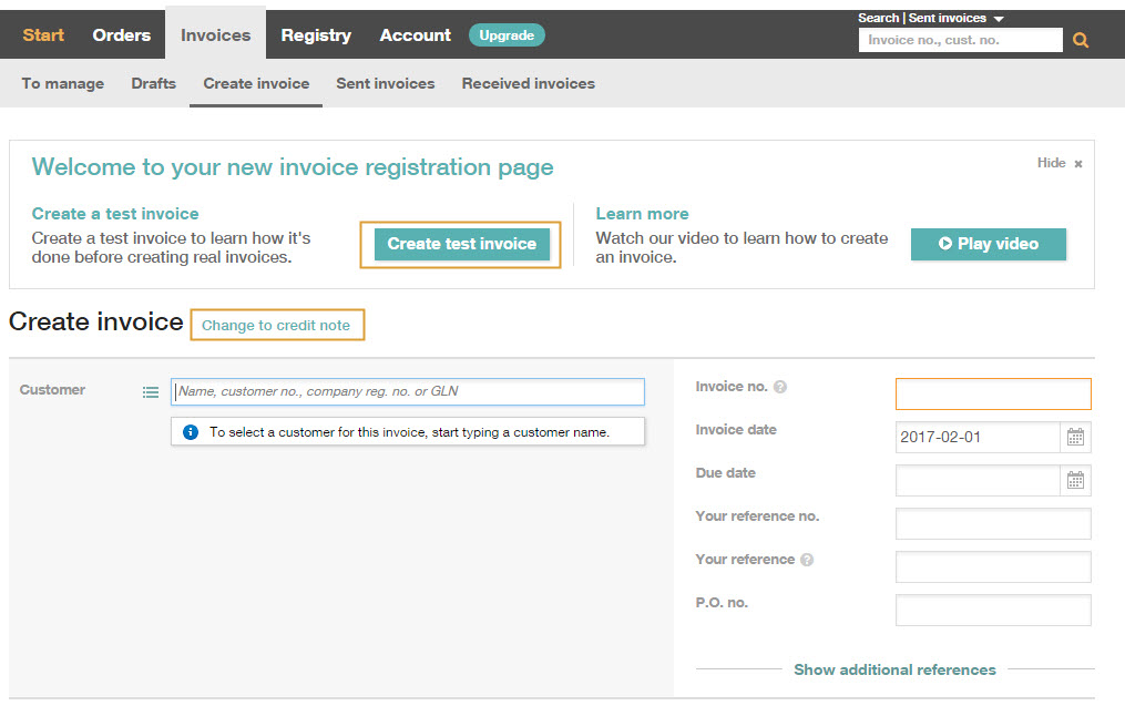 Create invoice \u2013 InExchange Helpcenter