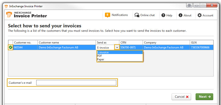 How do I select delivery method on the invoice printer? \u2013 InExchange - check invoice