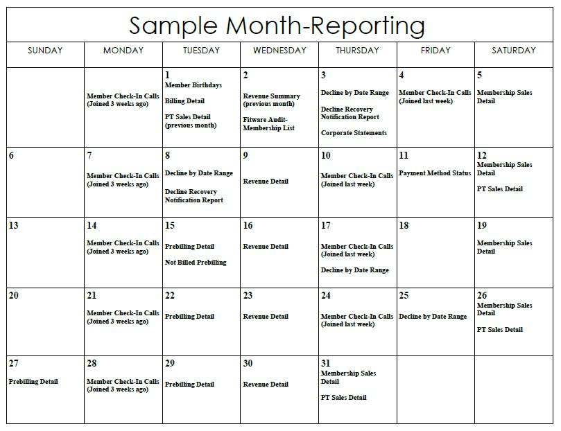 Sample Month Reporting Calendar \u2013 Fitware
