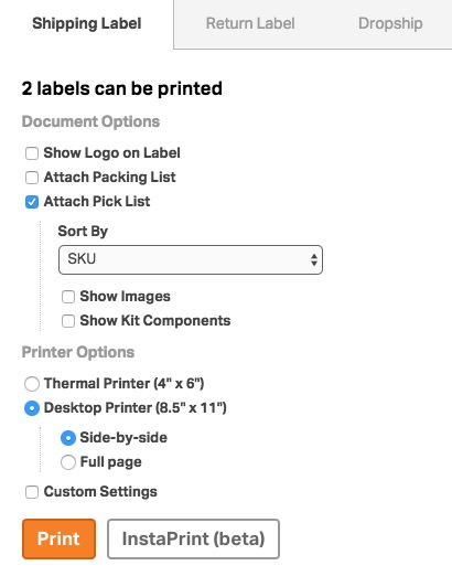 Ordoro - How to print a label and packing list together or two