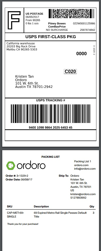 Ordoro - How to print a label and packing list together or two - packing slip