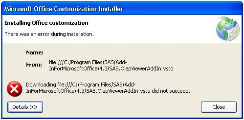 43331 - After installing SAS® Add-in for Microsoft Office, problems
