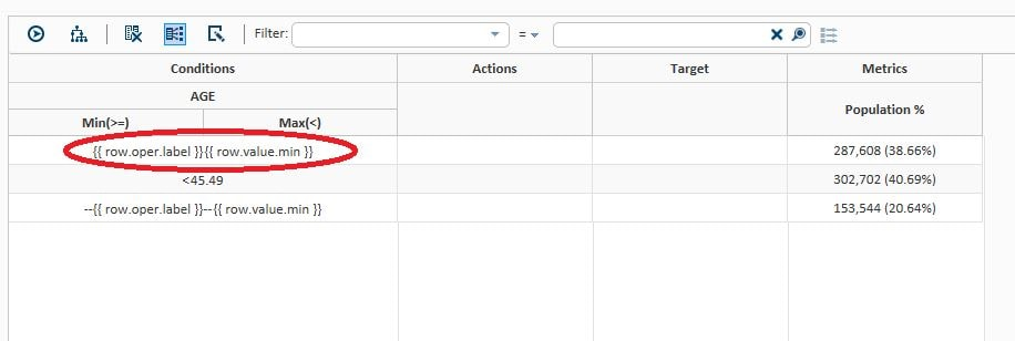 59283 - Row template values are displayed instead of row values in