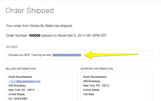 Receiving an order \u2013 Squarespace Help - shipping information template