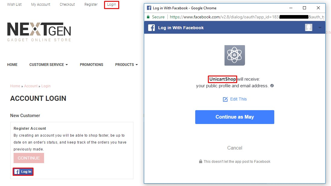 How to Add Login with Facebook \u2013 UniCart Support Center