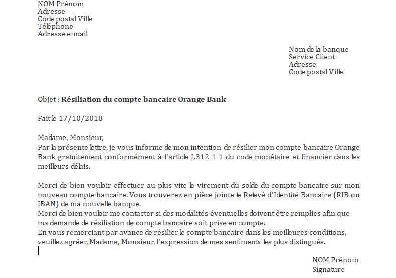 lettre resiliation service bancaire
