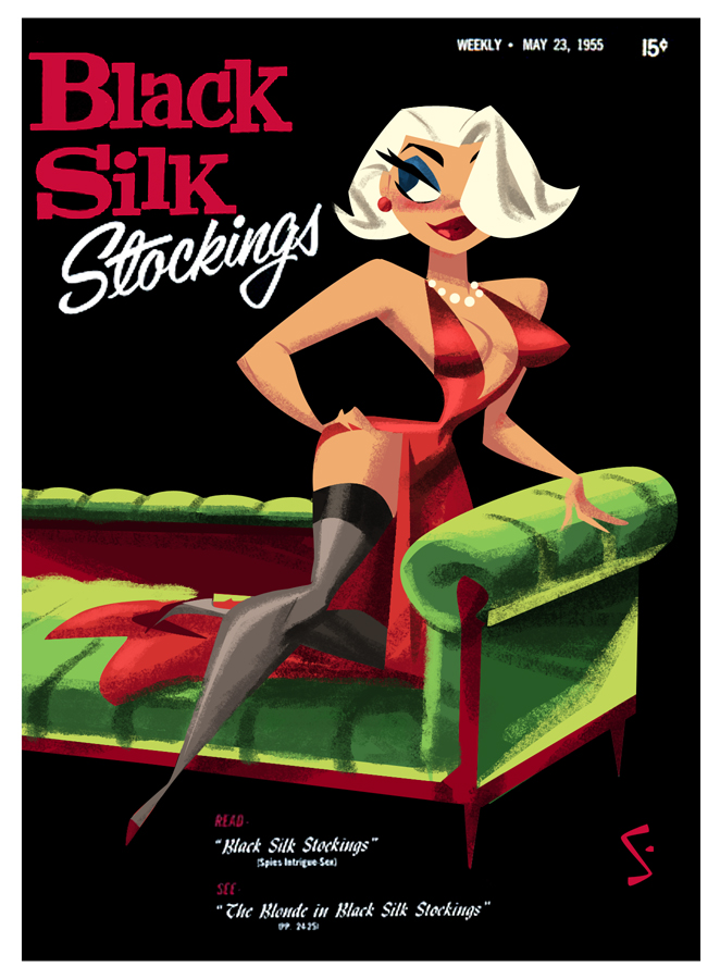 Black Silk Stocklings - 1955 - Old vintage sexy magazine