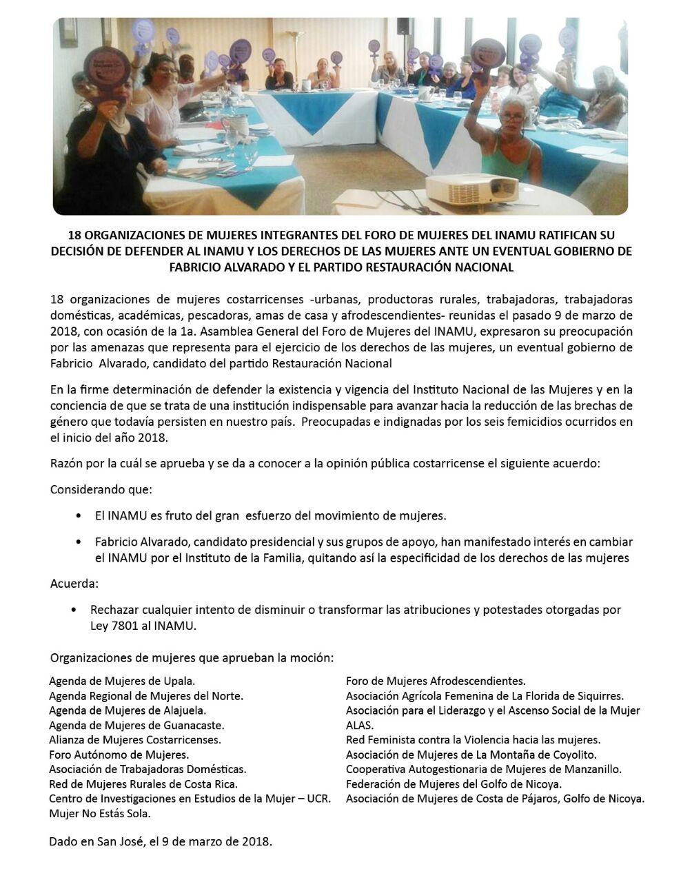 Organizaciones de mujeres defenderan sus derechos y al INAMU
