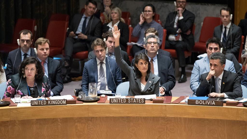 "Foto tomada de artículo de prensa titulado ""US vetoes Kuwait UN proposal to protect Palestinians"" (The National, Emiratos Arabes Unidos)."