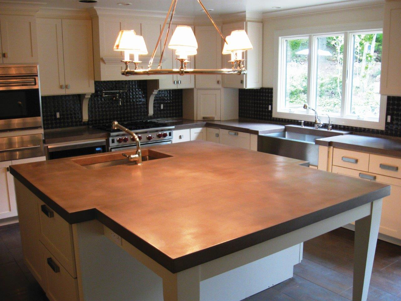 Concrete Countertops Mn Very Larg Cast Concrete Countertop Island Stained With Brown Stain