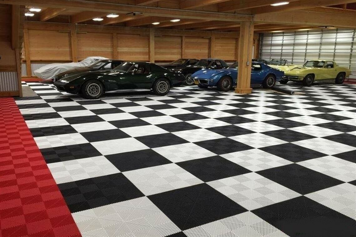 Swiss Ribtrax Standard Garage Flooring Tiles Cheap Prices Bulk Quantities New Motion Constrained Surplus