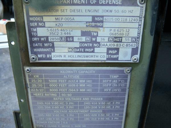 Kw Trailer Wiring Diagram Military 30kw Diesel Extreme Duty Emp Proof Generator