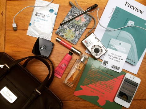Inside my handbag LFW