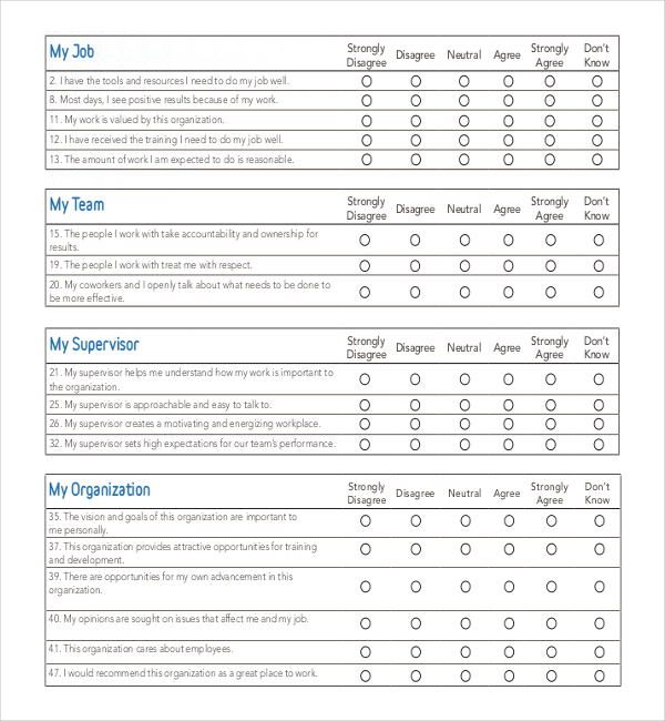 25 Employee Surveys Survey Templates and Worksheets