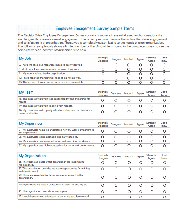 Employee-Engagement-Survey-sample-sheet \u2013 Survey Templates and
