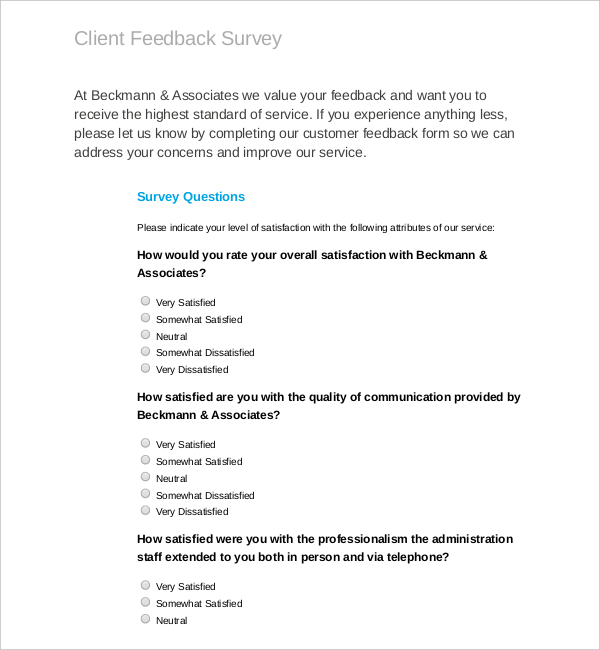 MS-Word-PDF-Template-for-Client-Feedback-Survey \u2013 Survey Templates - Client Feedback Form In Word