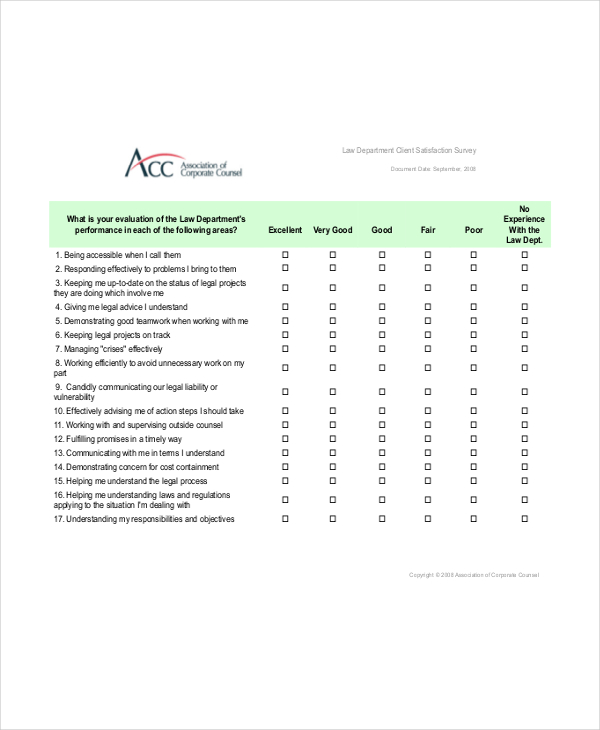 law department client satisfaction survey Survey Templates and