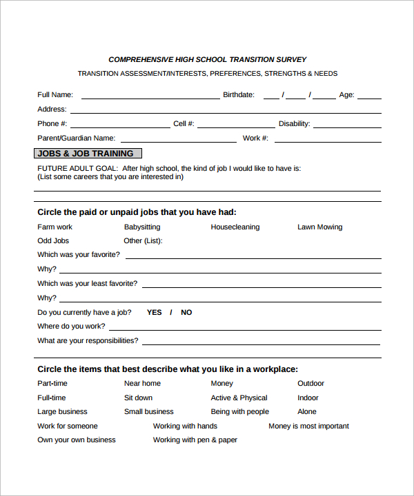 survey template excel Survey Templates and Worksheets - printable survey forms
