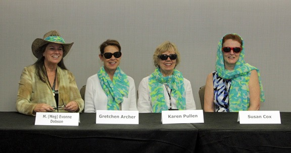 """Murder in Hiding"" panel at Malice Domestic in Bethesda. Spring, 2016. I love that we all wore our ""camouflage"" scarves differently."