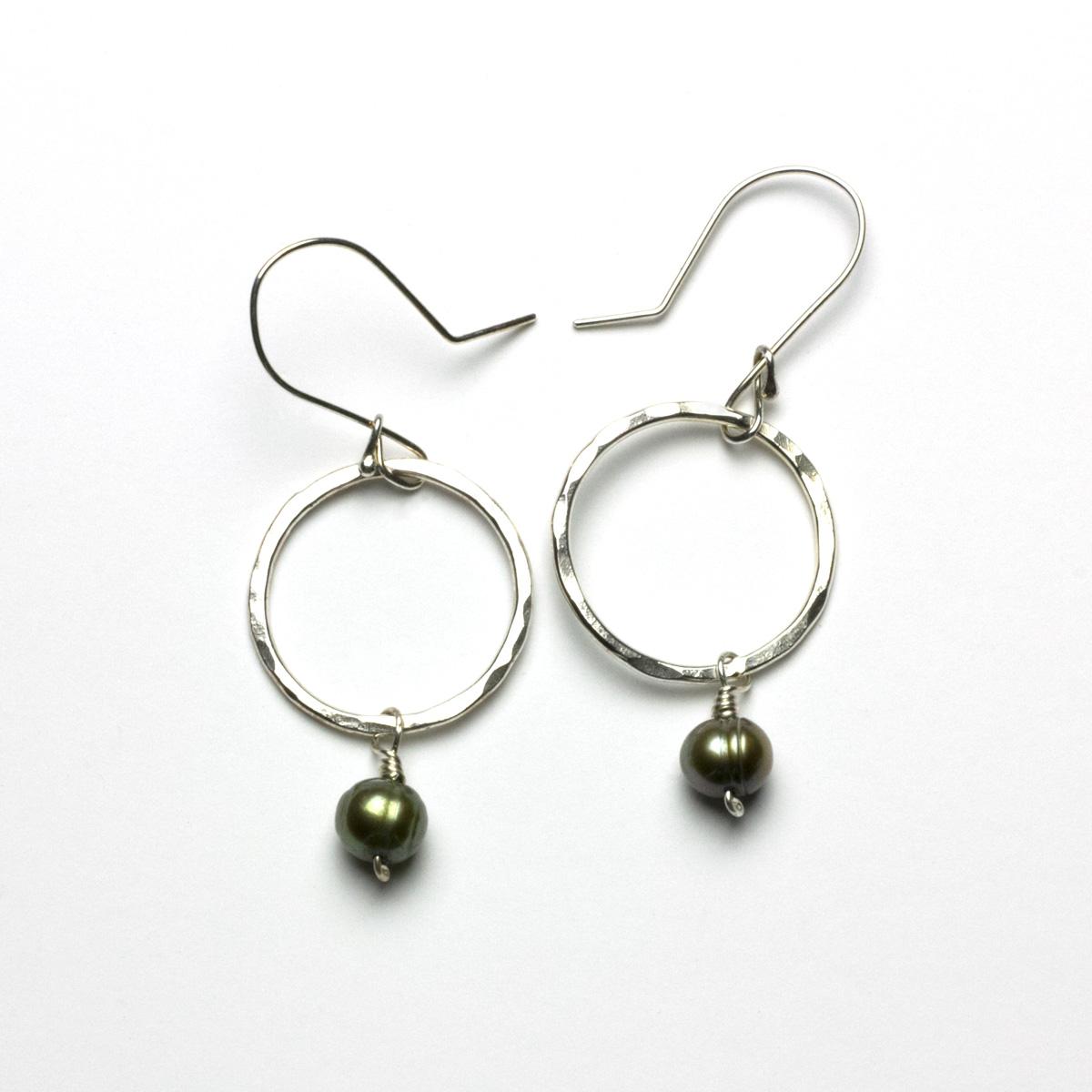 Green Pearl Earrings Women Ear Stud Orchid Flower Green