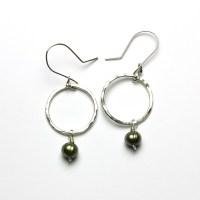 Green Pearl Earrings Women Ear Stud Orchid Flower Green ...