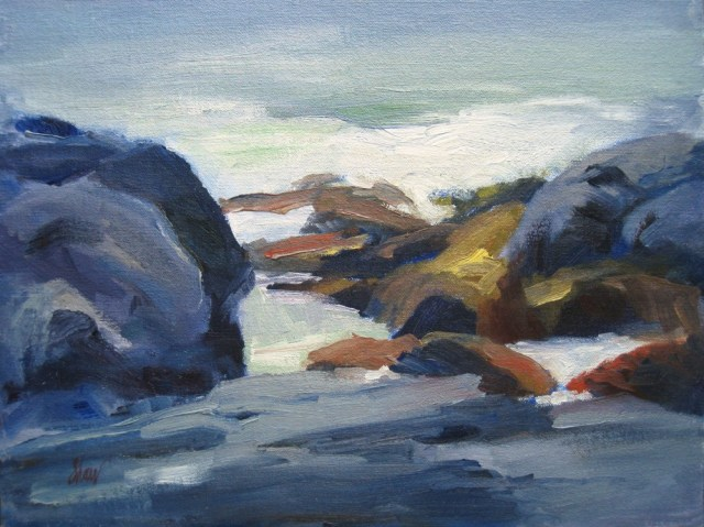"Monhegan Tide Pool, oil on linen, 11""x14"""