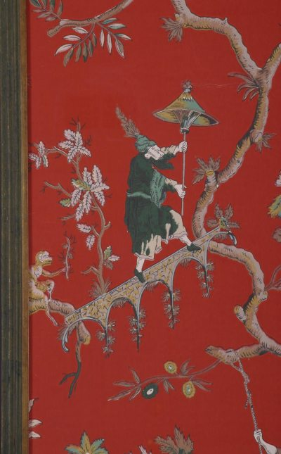 Pair of French Chinoiserie Wallpaper Panels, Circa 1910