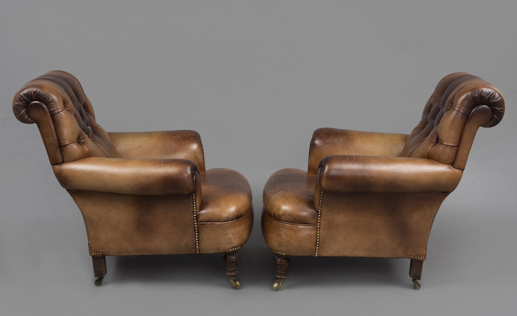 Sofa Cognac » Product » Antique English Pair Leather Club Chairs
