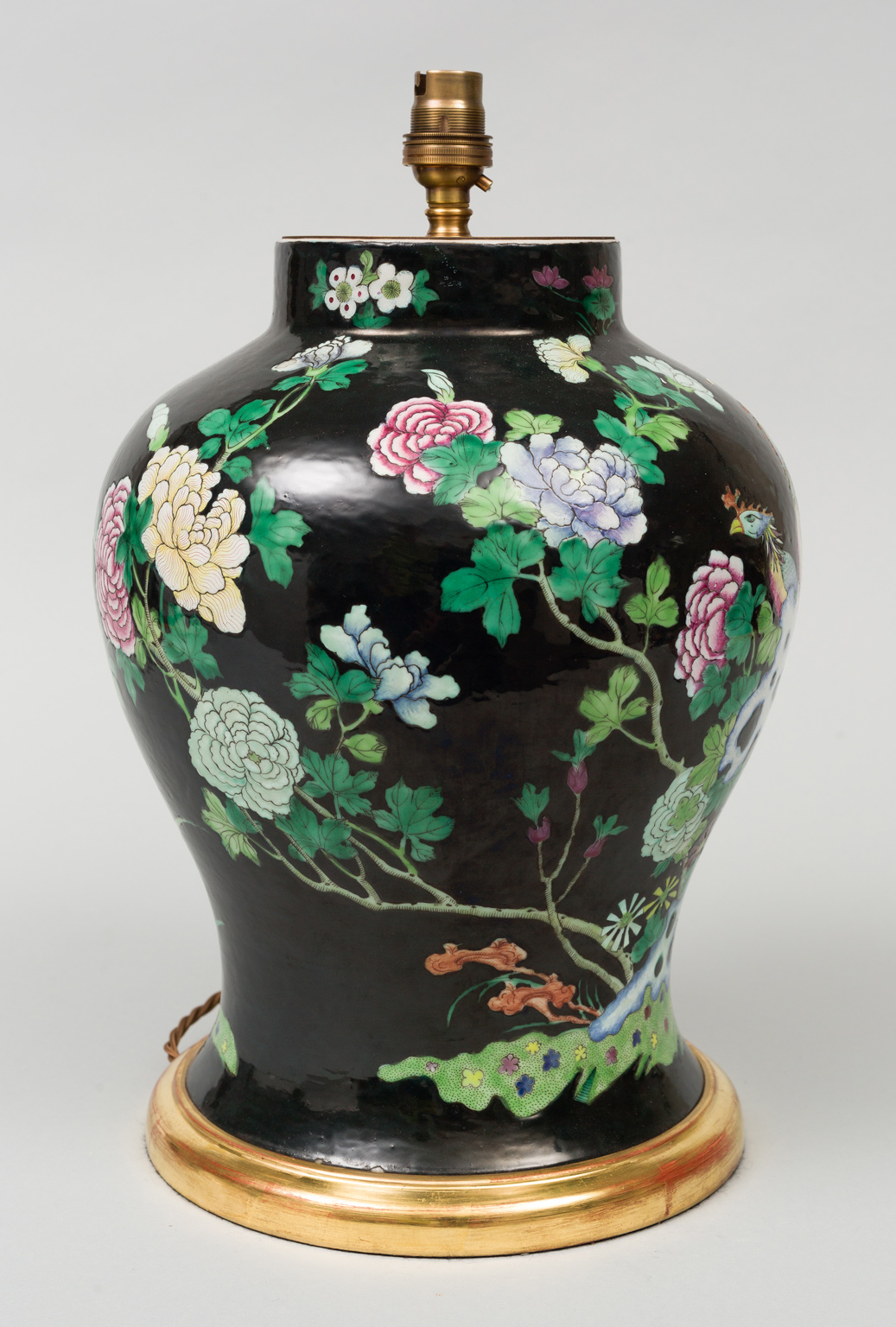 Base Cabinets Chinese Famille Noire Vase Lamp