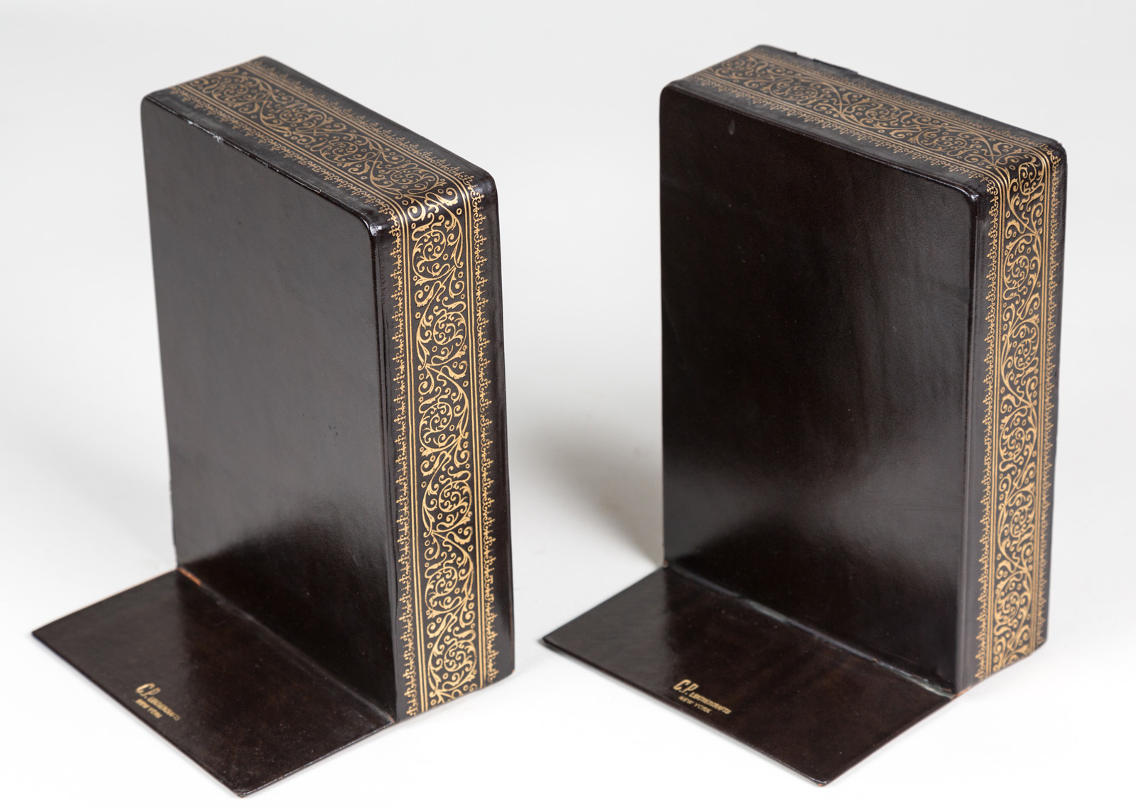 Classic Bookends Pair Vintage Black Leather Bookends