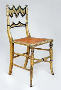 Antique Gothic Revival Painted and Caned Side Chair
