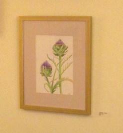 Artichokes in Flower, on wall, by Susan Sternau