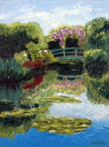 Lily Pond with Bridge, giclee print by Susan Sternau