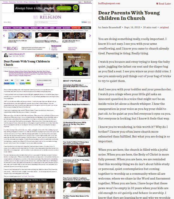 Huffington Post, al natural e alterado por Readability.