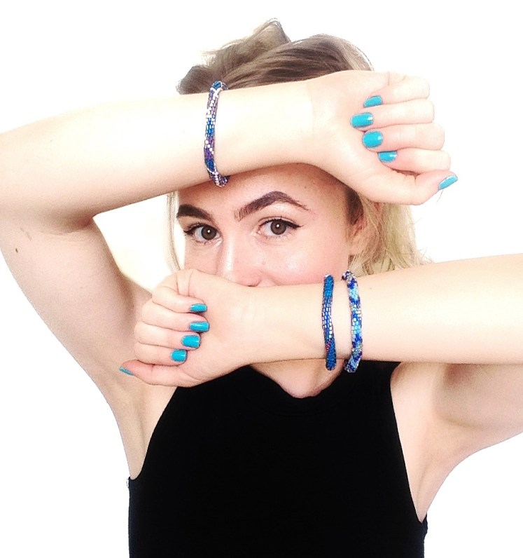 roll on bracelets handmade seek wander share glass blue sea ocean accessories jewelry sustainable fairtrade ethical fashion