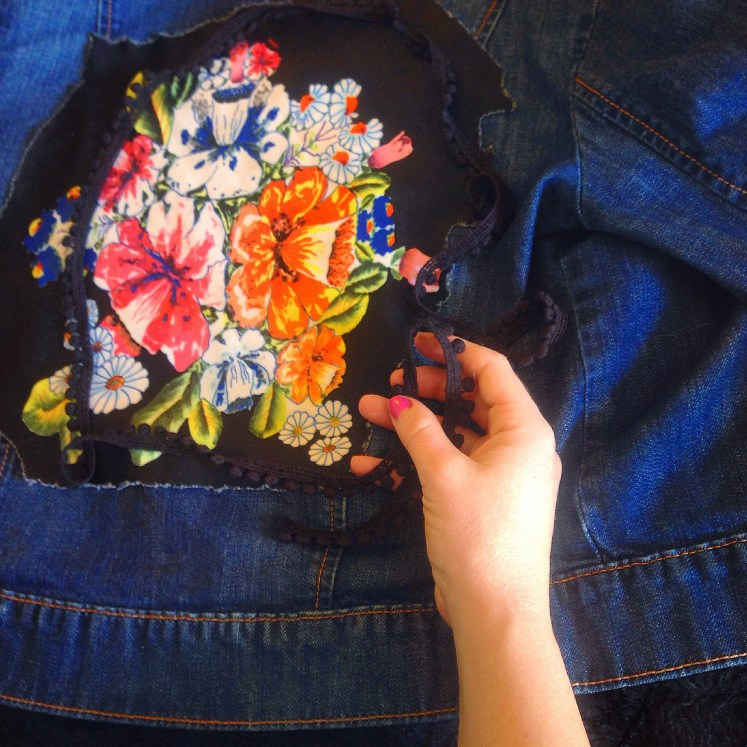 Goodwill Jean Jacket upcycle diy do it yourself project craft fun decal