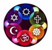 Circle containing symbols of major religions within different coloured circles