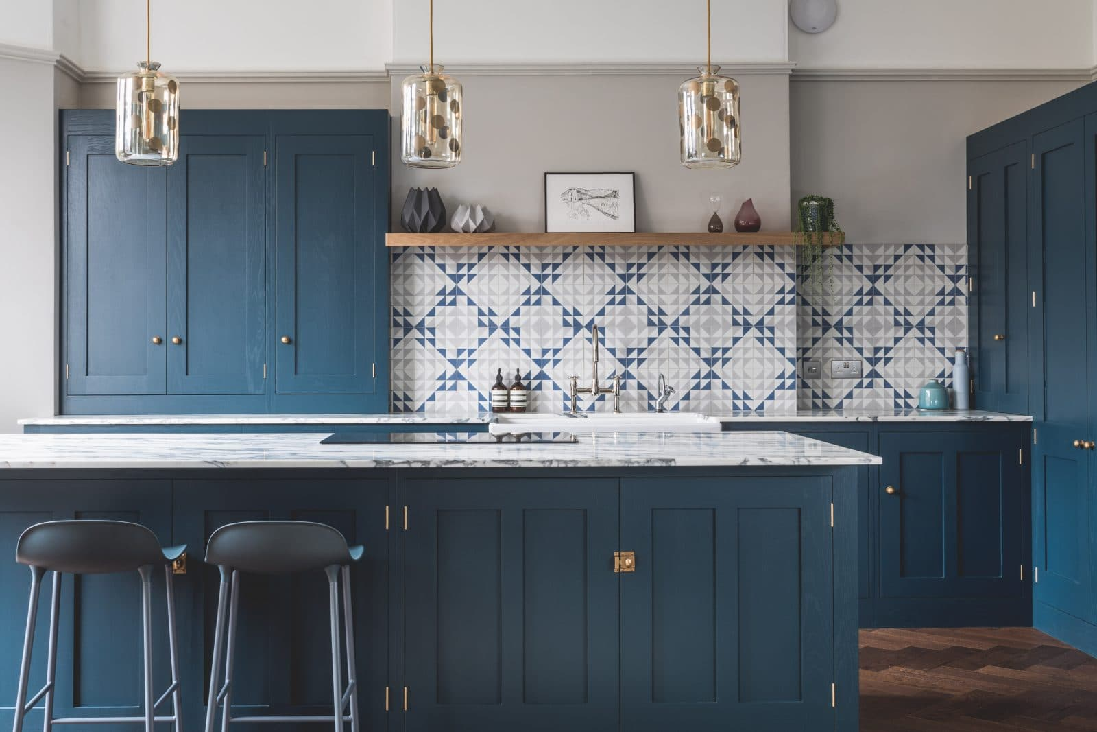 Blue Kitchen Cabinet Dark Blue Geometric Kitchen Sustainable Kitchens