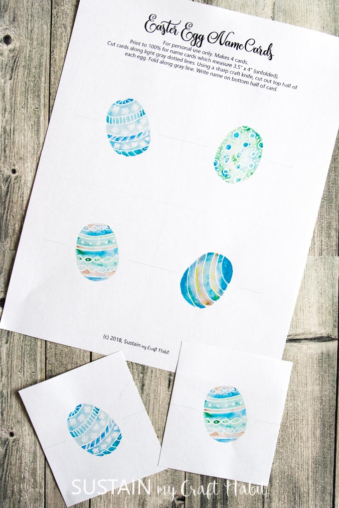 Egg-cellent Easter Place Cards Printable \u2013 Sustain My Craft Habit