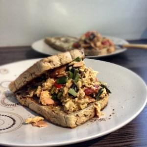 Scrambled egg, Quorn ham and salad veg sandwich