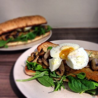 Tofu Sausage with Salad, Fried Mushrooms and Poached Egg Sub