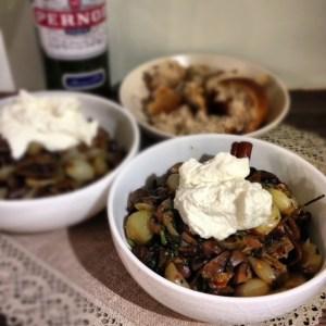 Mushrooms, Garlic and Shallots with Lemon Ricotta