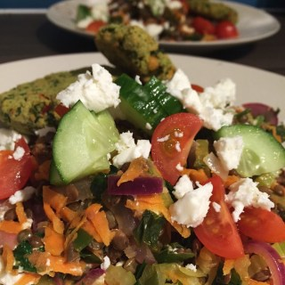 Warm Puy Lentil Salad with Veg and Feta