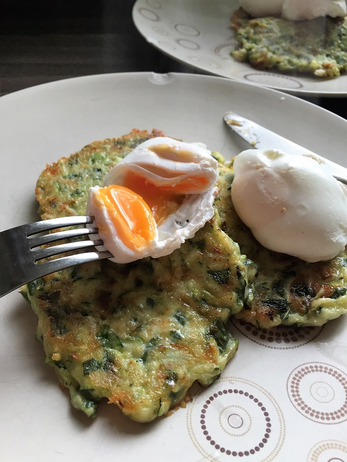 Courgette and Mint Fritters with poached eggs